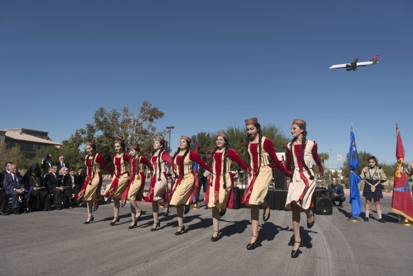 Members of the Armenian Dance Academy of Las Vegas perform during the unveiling and dedication of the Armenian Genocide Memorial Monument in Sunset Park in Las Vegas Saturday, Nov. 14, 2015. Jason ...