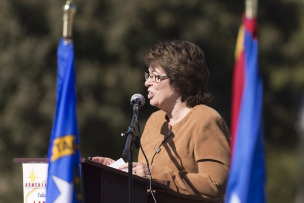 Clark County Commissioner Mary Beth Scow speaks during the unveiling and dedication of the Armenian Genocide Memorial Monument in Sunset Park in Las Vegas Saturday, Nov. 14, 2015. Jason Ogulnik/La ...