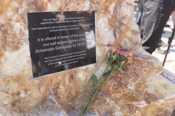 The dedication plaque is seen during the unveiling and dedication of the Armenian Genocide Memorial Monument in Sunset Park in Las Vegas Saturday, Nov. 14, 2015. Jason Ogulnik/Las Vegas Review-Journal