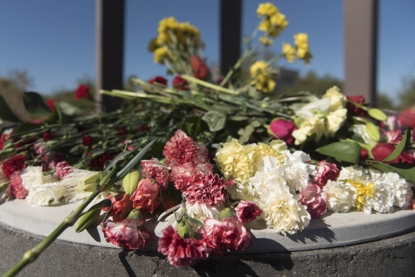 Carnation are seen on the monuments central bench during the unveiling and dedication of the Armenian Genocide Memorial Monument in Sunset Park in Las Vegas Saturday, Nov. 14, 2015. Jason Ogulnik/ ...