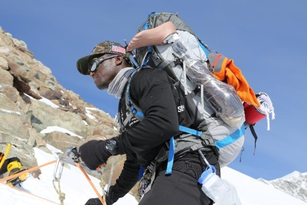 Former U.S. Marine corporal Kionte Storey is shown during a climb to the summit of Antartica's Mount Vinson. Storey was the first amputee to reach the summit. Courtesy photo