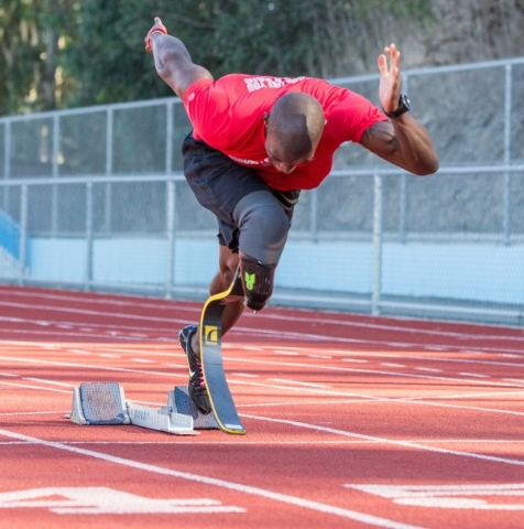 Former U.S. Marine Lance corporal Kionte Storey lost his right leg during battle in Afghanistan and will run in Sunday's Rock 'n' Roll Las Vegas Half Marathon. Courtesy photo