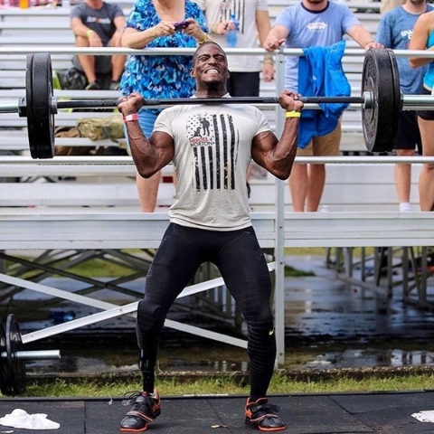 Kionte Storey lifting weights during a Crossfit competition. Courtesy photo