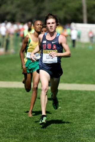 Runner in USA jersey is Craig Lutz, a four-time All-American at the University of Texas who recently set the Arizona state 5K road racing record (13:51) and is one of the favorites to win Sunday&l ...