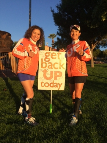 Virginia Mamone of Las Vegas, left, and Beth Deloria, founder of eamUP and Get Back UP Today, smile after finishing a 5K Oct. 24 in Boulder City. Mamone has foot drop paralysis and Charcot-Marie-T ...