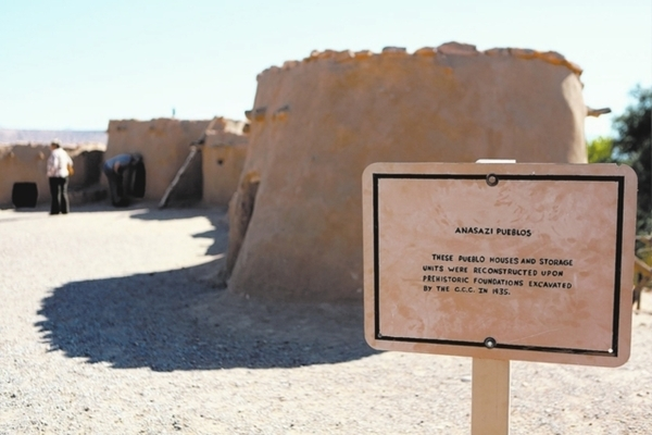 Visitors explore replica pueblo dwellings outside the Lost City Museum in Overton. RONDA CHURCHILL/LAS VEGAS REVIEW-JOURNAL