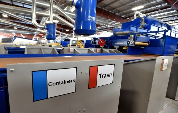 Labels that mark containers at sorting stations are seen at the new Republic Services recycling center in North Las Vegas on Wednesday, Nov. 11, 2015. The $35 million facility, which is set to ope ...