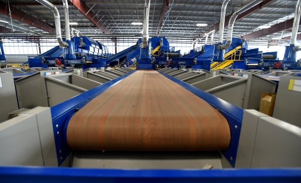 Over one mile of conveyer belts are used at the new Republic Services recycling center in North Las Vegas on Wednesday, Nov. 11, 2015. The $35 million facility, which is set to open within the nex ...