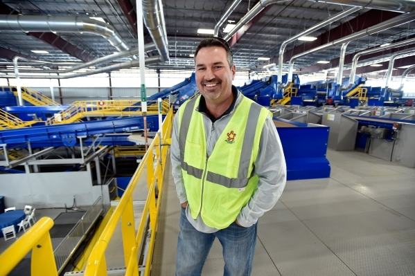 Pete Keller, vice president, recycling and customer solutions at Republic Services Inc., smiles in the company's new recycling center in North Las Vegas on Wednesday, Nov. 11, 2015. The $35  ...
