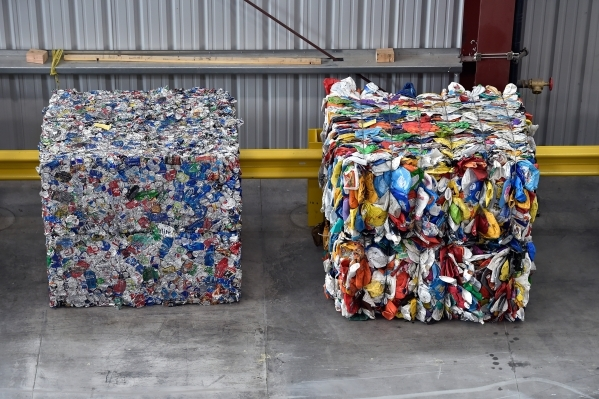 Compress cubes of recycled materials are seen at the new Republic Services recycling center in North Las Vegas on Wednesday, Nov. 11, 2015. The $35 million facility, which is set to open within th ...