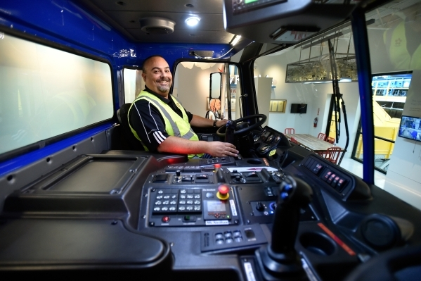 Len Christopher, general manager at Republic Services, leads a tour inside the learning center at the company's new recycling center in North Las Vegas on Wednesday, Nov. 11, 2015. The $35 m ...