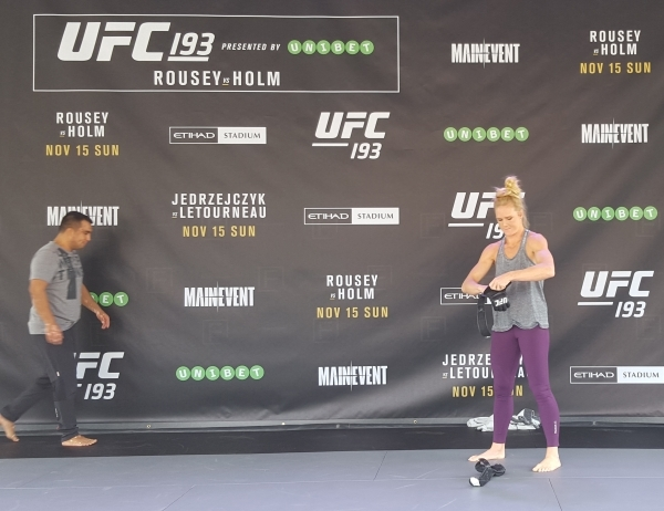Holly Holm wraps her hands during open workouts for UFC 193 at Federation Square in Melbourne, Australia, on Sunday. Holm will challenge Ronda Rousey for the women's bantamweight title at Et ...