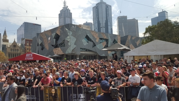 Fans gather at Federation Square in Melbourne, Australia, to watch open workouts for Sunday's UFC 193 event at Etihad Stadium. Adam Hill/Las Vegas Review-Journal