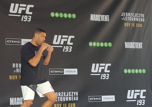 """Heavyweight Antonio """"Bigfoot"""" Silva works out for fans at Federation Square in Melbourne, Australia, in advance of his rematch against Mark Hunt on the main card of UFC 193 at Etihad Sta ..."""