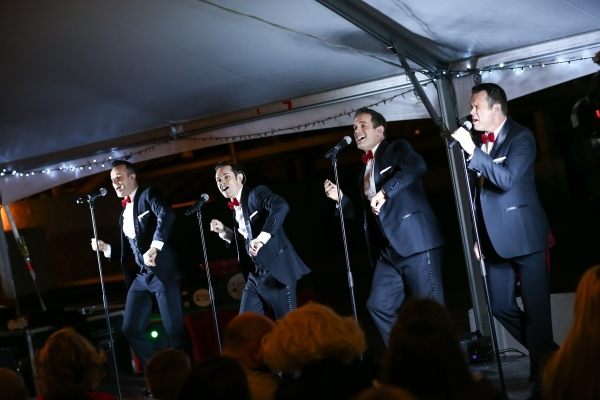 Human Nature performs during the unveiling of Glittering Lights holiday drive-through light setup at Las Vegas Motor Speedway in Las Vegas on Thursday, Nov. 12, 2015. Chase Stevens/Las Vegas Revie ...
