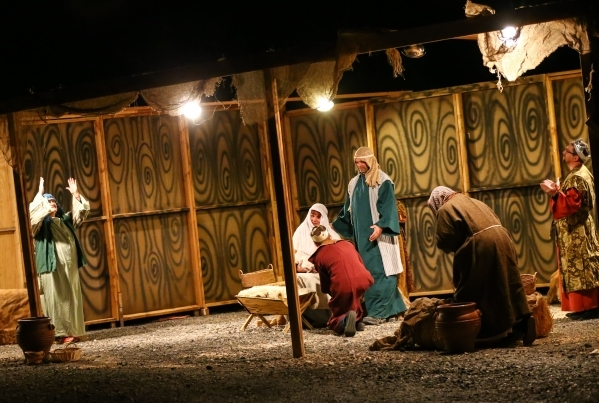 A live nativity scene goes on during the unveiling of Glittering Lights holiday drive-through light setup at Las Vegas Motor Speedway in Las Vegas on Thursday, Nov. 12, 2015. Chase Stevens/Las Veg ...