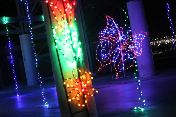 Holiday lights are shown during the unveiling of Glittering Lights holiday drive-through light setup at Las Vegas Motor Speedway in Las Vegas on Thursday, Nov. 12, 2015. Chase Stevens/Las Vegas Re ...
