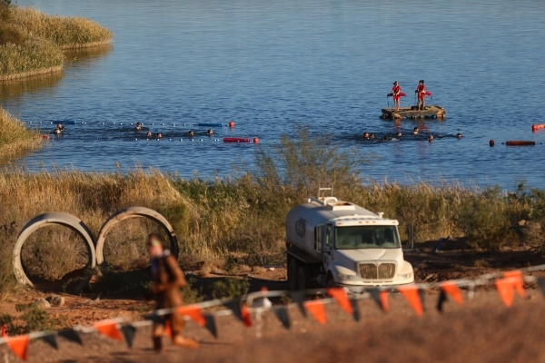 Competitors swim in the water during the World's Toughest Mudder competition in Lake Las Vegas on Saturday, Nov. 14, 2015. Chase Stevens/Las Vegas Review-Journal Follow @csstevensphoto