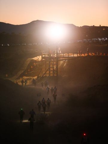 Competitors approach an obstacle during the World's Toughest Mudder competition in Lake Las Vegas on Saturday, Nov. 14, 2015. Chase Stevens/Las Vegas Review-Journal Follow @csstevensphoto
