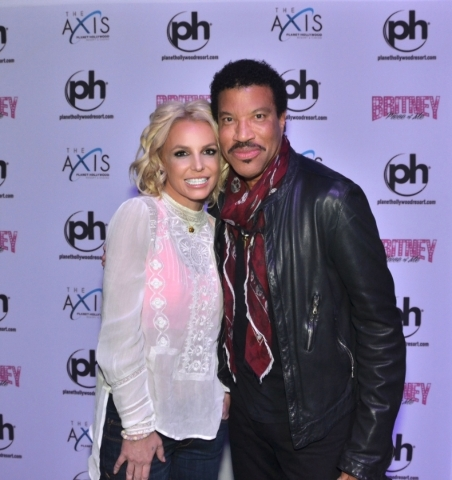 Britney Spears with Lionel Richie at Planet Hollywood this past Saturday. (Courtesy)