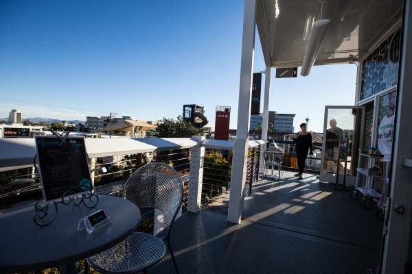 People walk on the third floor of the Container Park in downtown Las Vegas on Thursday, Nov. 12, 2015. Chase Stevens/Las Vegas Review-Journal Follow @csstevensphoto
