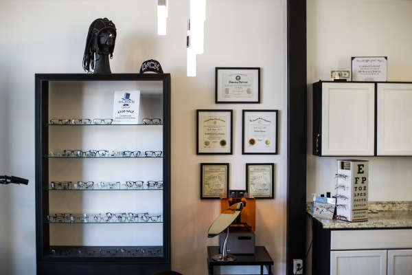 Items are shown at Monocle Optical, located on the third floor of the Container Park, downtown in Las Vegas on Thursday, Nov. 12, 2015. Chase Stevens/Las Vegas Review-Journal Follow @csstevensphoto