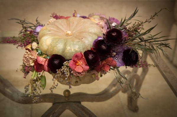 A gourd is used as the focal point of this autumn arrangement created by Hileah Cleveland, owner of Sun City-Summerlin Florist. COURTESY OF TONYA HARVEY