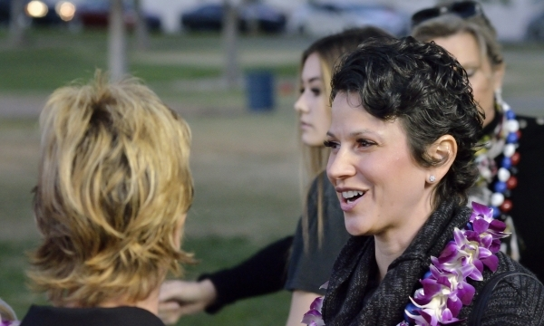 Caroline Ciocca, president and CEO of Make-A-Wish Southern Nevada, is shown during a luau celebrating the announcement of fifth-grader Natalia RuizþÄôs Make-A-Wish Foundation trip to Hawa ...