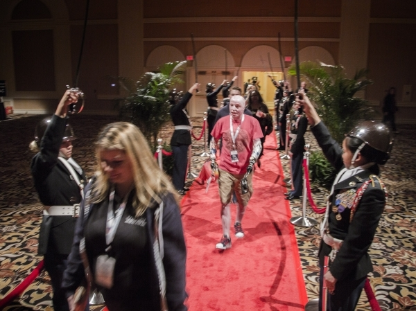 "Guest  Mike Schlitz walks the red carpet  during the ""Salute the Troops"" event at the The Mirage on Friday, Nov. 13, 2015. MGM Resorts International is treating more than 70 wounded warr ..."