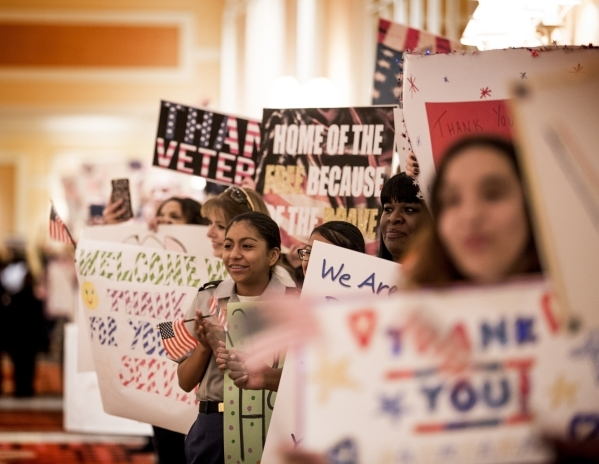 "Staff members of MGM International greet Wound Warriors  during the ""Salute the Troops"" event at the The Mirage on Friday, Nov. 13, 2015. MGM Resorts International is treating more than  ..."