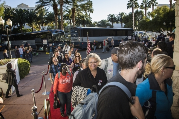 "Wounded Warriors and guest arrive for the ""Salute the Troops"" event at the The Mirage on Friday, Nov. 13, 2015. MGM Resorts International is treating more than 70 wounded warriors who su ..."