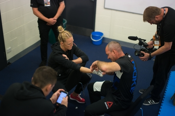 UFC crews film Holly Holm as she works with trainer Mike Winkeljohn for the Embedded series in Australia leading up to UFC 193. Courtesy, UFC