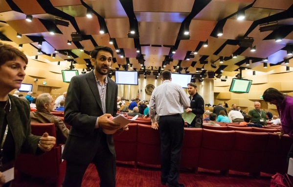 Nick Phillips, a candidate for Nevada Republican Party Chairman, talks with attendees before a meeting of the Nevada Republican Central Committee at Las Vegas City Hall on Saturday, Nov. 14, 2015. ...