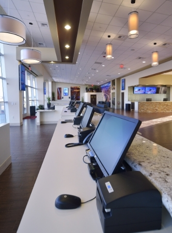 The reception area is shown at the new Maverick Helicopters terminal at 6075 Las Vegas Blvd. South  on Tuesday, Nov. 17, 2015. Bill Hughes/Las Vegas Review-Journal