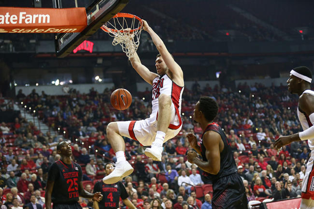 UNLV forward Ben Carter (13) dunks the ball against Southern Utah during a basketball game at the Thomas & Mack Center in Las Vegas on Wednesday, Nov. 18, 2015. Chase Stevens/Las Vegas Review- ...