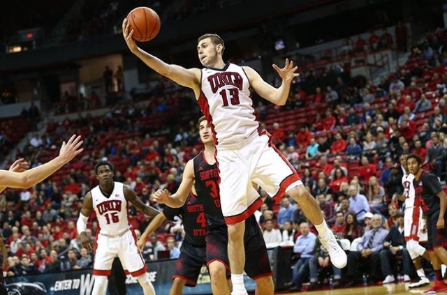 UNLV forward Ben Carter (13) gets control of the ball while playing against Southern Utah during a basketball game at the Thomas & Mack Center in Las Vegas on Wednesday, Nov. 18, 2015. Chase S ...