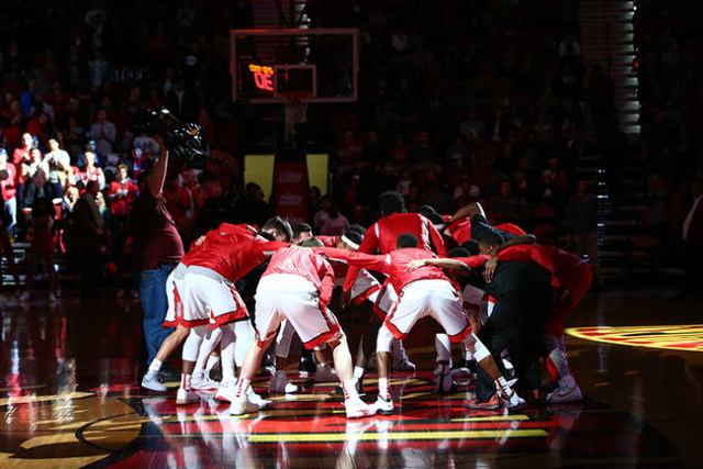 UNLV Runnin' Rebels huddle up before taking on Southern Utah in a basketball game at the Thomas & Mack Center in Las Vegas on Wednesday, Nov. 18, 2015. Chase Stevens/Las Vegas Review-Jou ...