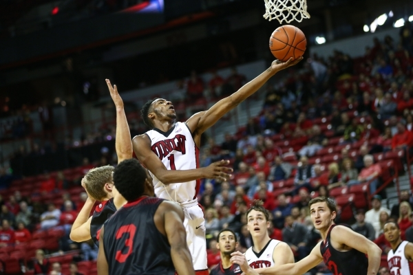 UNLV forward Derrick Jones Jr. (1) shoots the ball against Southern Utah at the Thomas & Mack Center in Las Vegas on Wednesday, Nov. 18, 2015. (Chase Stevens/Las Vegas Review-Journal Follow @c ...
