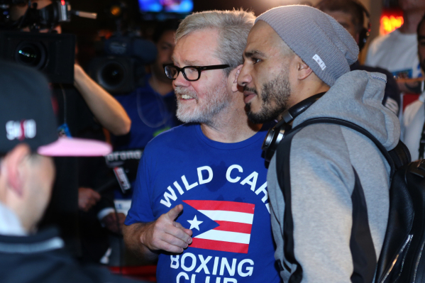 Boxing trainer Freddie Roach, left, poses with Miguel Cotto during the grand arrival event for Cotto and Canelo Alvarez at Mandalay Bay casino-hotel in Las Vegas Tuesday, Nov. 17, 2015. Erik Verdu ...