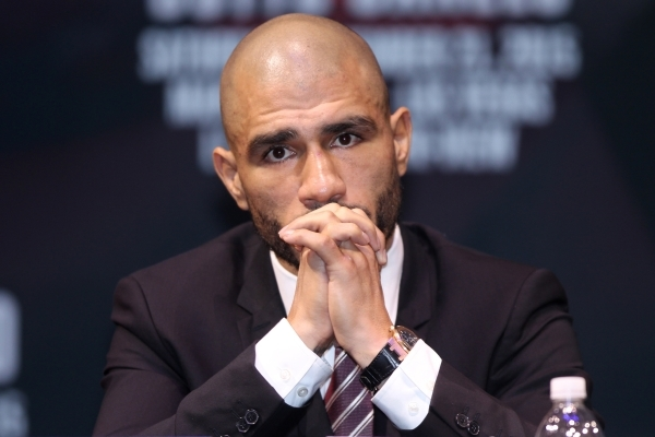"""Miguel Cotto is seen during the final press conference before his fight against Saul """"Canelo"""" Alvarez at Mandalay Bay casino-hotel in Las Vegas Wednesday, Nov. 18, 2015. Erik Verduzco/La ..."""