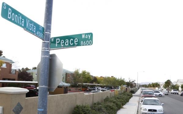 Bonita Vista Street sign is shown on Monday, Nov. 16, 2015 where a man was found dead Sunday night in the 4500 block of Bonita Vista Street, near Peace Way and South Durango Drive. Bizuayehu Tesfa ...