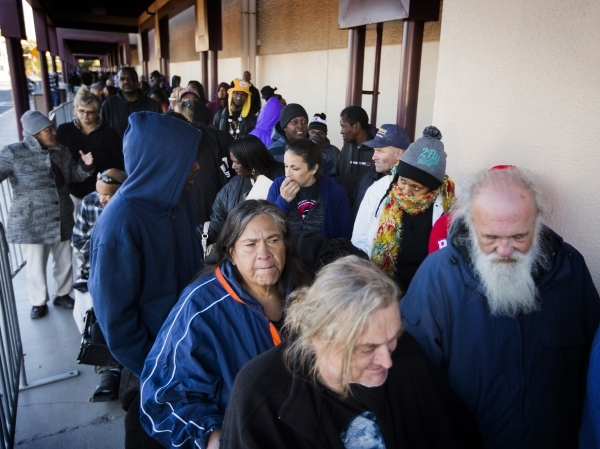 People waiting in line during Project Homeless Connect at Cashman Center at 850 N. Las Vegas Boulevard on Tuesday, Nov. 17, 2015. About 400 volunteers helped thousands of homeless and underprivile ...