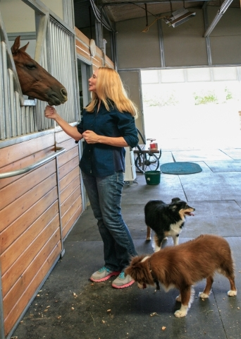 Homeowner Theresa Gillock inspects a cutting horse in the barn. ELKE COTE/REAL ESTATE MILLIONS