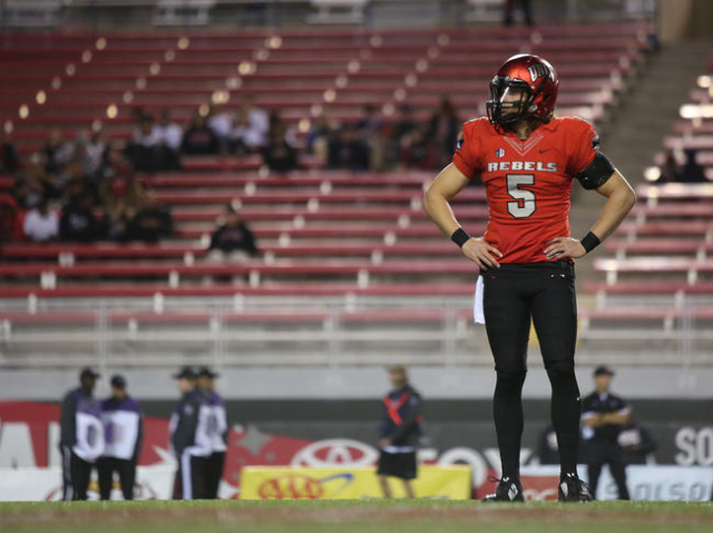 UNLV quarterback Blake Decker stands on the field before the UNLV-San Diego State game at Sam Boyd Stadium on Saturday, November 21, 2015, in Las Vegas. Brett Le Blanc/Las Vegas Review-Journal Fol ...