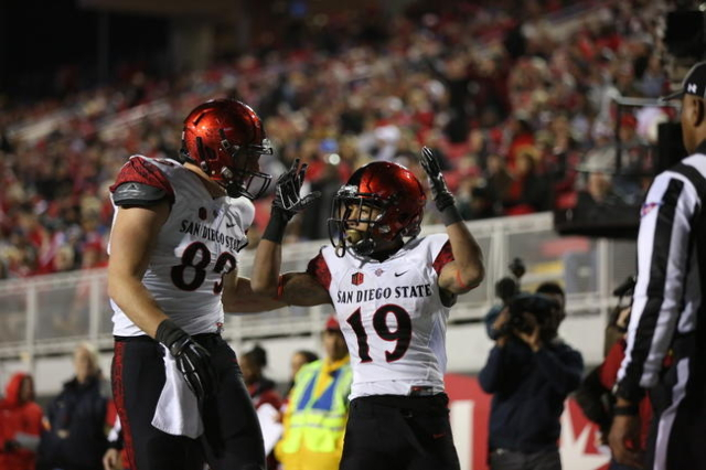 San Diego State Aztecs running back Donnel Pumphrey (19) celebrates with wide receiver Paul Pitts III (83) in the second quarter against UNLV at Sam Boyd Stadium in Henderson Saturday, Nov. 21, 20 ...