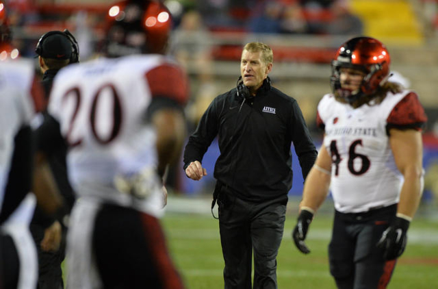 San Diego State Special Teams Coordinator Bobby Hauck walks the sideline during the San Diego State at UNLV game at Sam Boyd Stadium on Saturday, November 21, 2015, in Las Vegas.San Diego State wo ...
