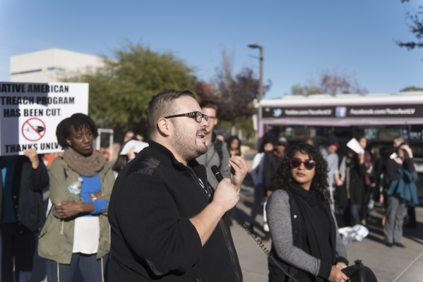 Xuan Espinoza, center, speaks as UNLV students hold a demonstration in front of  the Franklin J. Koch Auditorium at UNLV to show support of the University of Missouri and Yale University in the wa ...