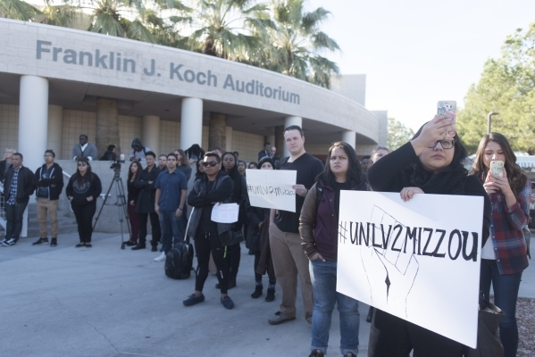 UNLV students hold a demonstration in front of  the Franklin J. Koch Auditorium at UNLV to show support of the University of Missouri and Yale University in the wake of race related events on the  ...
