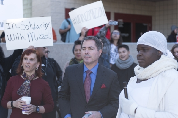 Ashley Smith, right, speaks to President Len Jessup, center, and school staff as UNLV students hold a demonstration in front of  the Franklin J. Koch Auditorium at UNLV to show support of the Univ ...