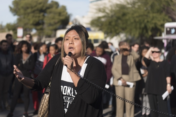 Crystal Lee speaks as UNLV students hold a demonstration in front of  the Franklin J. Koch Auditorium at UNLV to show support of the University of Missouri and Yale University in the wake of race  ...